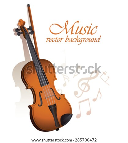 Violin and sheet music on a white background. - stock vector