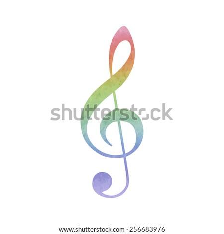 Violin clef. Watercolor effect. Watercolor effect - stock vector