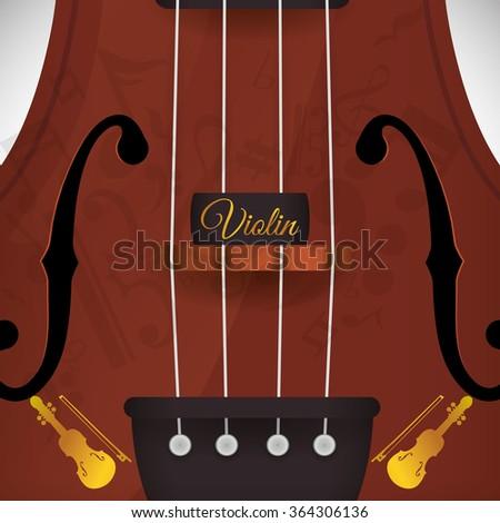 Violin, music icon design  - stock vector