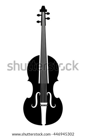 Violin music instrument icon silhouette in black and white colors, vector illustration. - stock vector