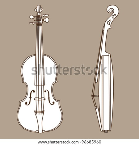 violin silhouette on brown background, vector illustration - stock vector