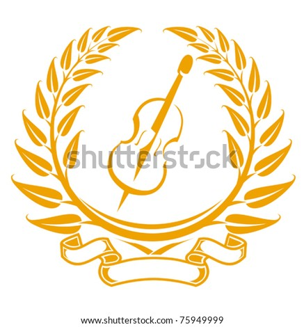 Violin symbol in laurel wreath isolated on white. Jpeg version also available in gallery - stock vector