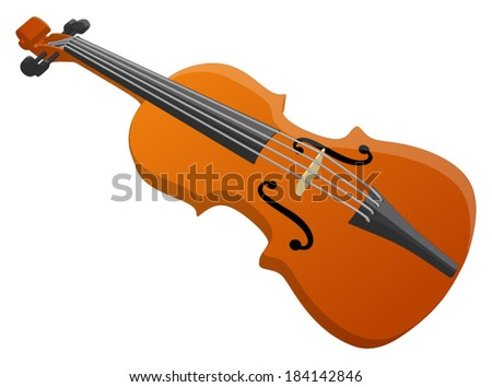 Violin -  Vector Artwork (isolated on white background). - stock vector