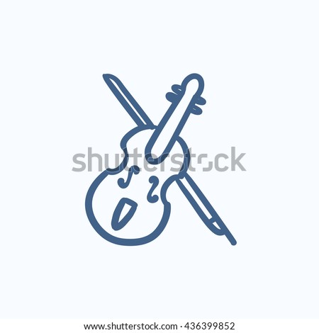 Violin with bow vector sketch icon isolated on background. Hand drawn Violin with bow icon. Violin with bow sketch icon for infographic, website or app. - stock vector