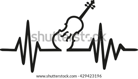 Violin with frequence - stock vector