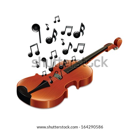Violin With Melody2 - stock vector