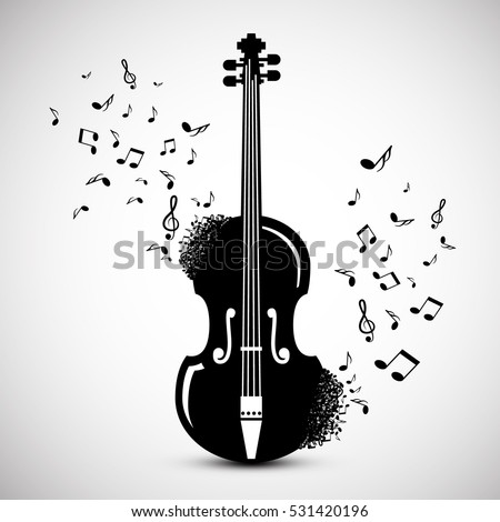 Violin with Notes. Music Background. Vector Jazz Festival Cover Design.