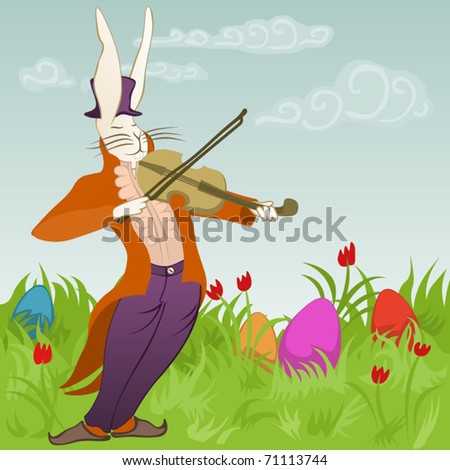 violinist bunny surrounded by easter eggs - stock vector