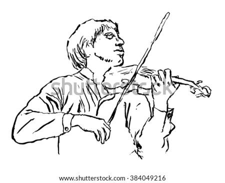violinist sketch - vector - stock vector