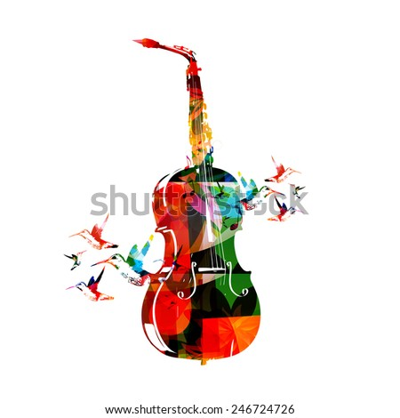 Violoncello and saxophone design - stock vector