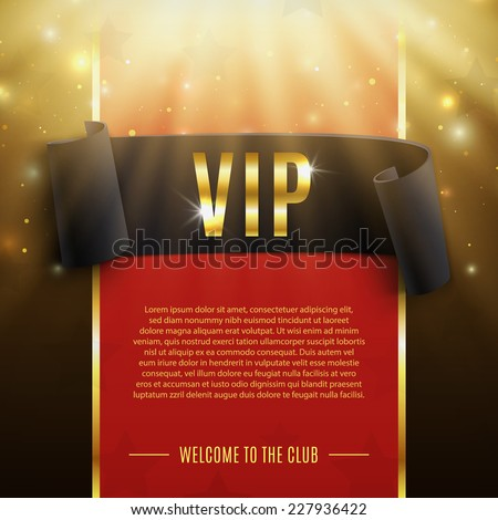 VIP background with realistic black curved ribbon, rays of light, particles and stars. Vector illustration - stock vector