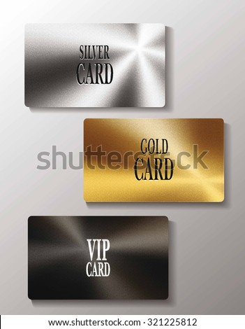 Vip cards with metal texture - stock vector