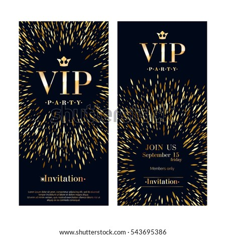 Party invitation stock images royalty free images vectors vip club party premium invitation card poster flyers set black and golden burst design template stopboris Gallery