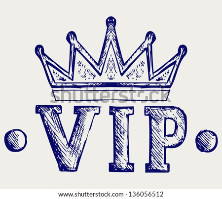 Vip crown symbol. Doodle style - stock vector