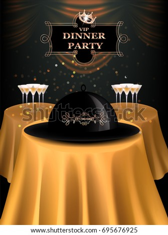 Vip dinner party invitation card gold stock vector royalty free vip dinner party invitation card with gold tables and curtains vector illustration stopboris Image collections