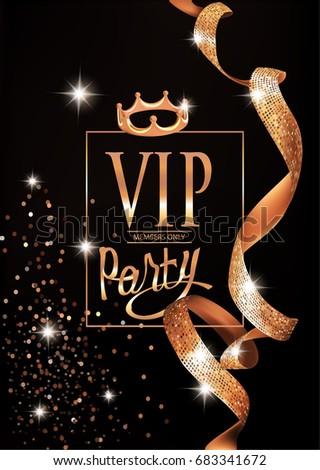 Vip elegant invitation card gold curly stock vector royalty free vip elegant invitation card with gold curly ribbons and frame vector illustration stopboris Choice Image
