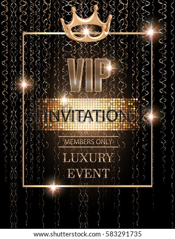 Vip event invitation card gold serpentine stock vector 583291735 vip event invitation card with gold serpentine crown and frame vector illustration stopboris Images