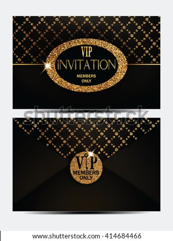 VIP gold and black vintage envelope front and back sides - stock vector