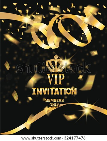 VIP invitation card with gold ribbons and confetti - stock vector