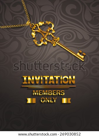 VIP invitation elegant card with key and floral design - stock vector