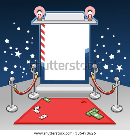 VIP red carpet with popping of flashes (empty space for your text) - stock vector