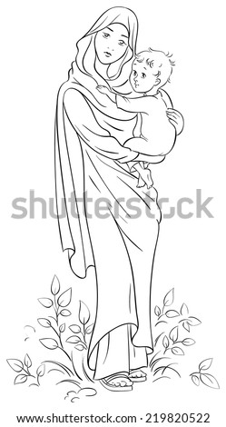 Virgin Mary holding baby Jesus. Colouring page. Also available colored version - stock vector