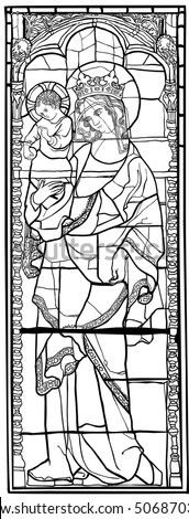 Virgin Mary with Jesus Christ in old stained glass style.