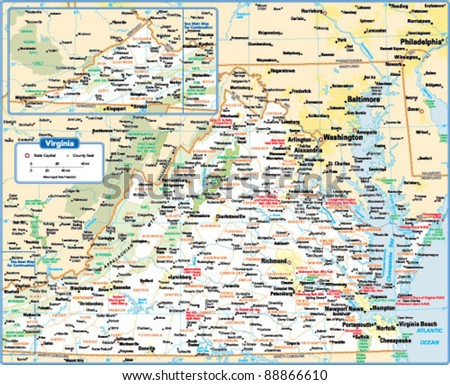 Virginia Map Stock Images RoyaltyFree Images Vectors - State of virginia map