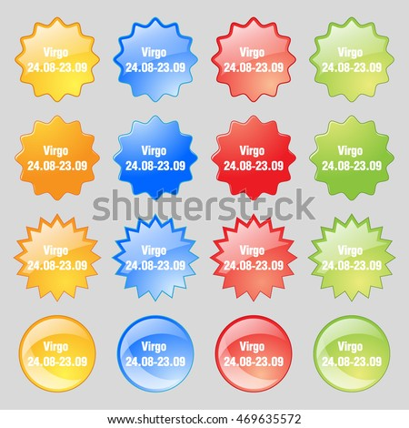 Virgo icon sign. Big set of 16 colorful modern buttons for your design. Vector illustration