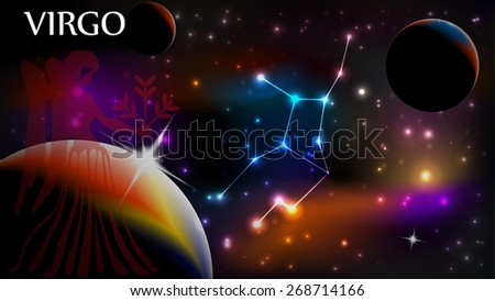 Virgo - Space Scene with Astrological Sign and copy space - stock vector