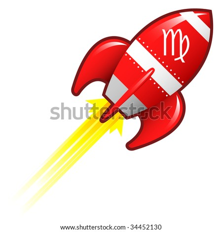 Virgo zodiac astrology sign on on red retro rocket ship illustration
