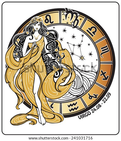 Virgo zodiac sign. Lovely female in the Greek chiton dress and flowing hair  is standing with  horoscope circle and zodiac constellation. Vector illustration in retro style,Vintage , art Nouveau. - stock vector