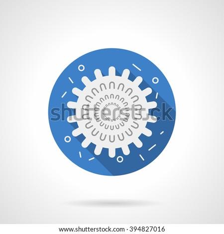 Virology and microbiology objects. Influenza virus model. White silhouette sign with long shadow. Flat color style single vector icon. Element for web design, business, mobile app.  - stock vector