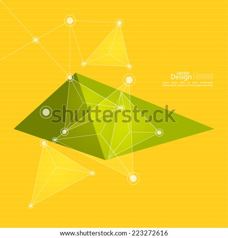 Virtual abstract background with particle,  molecule structure. genetic and chemical compounds. creative vector. Science and connection concept. Social network. yellow, green - stock vector