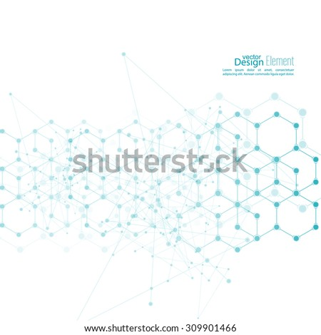 Virtual abstract background with particle, molecule structure. genetic and chemical compounds. creative vector. Science and connection concept. Social network. crystal cell - stock vector