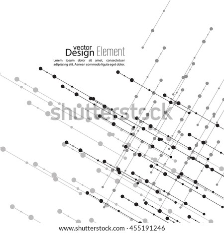 Virtual abstract background with particle, molecule structure. The intersecting diagonal lines with dots. Black and white, sepia. Science and connection concept. The database information transfer - stock vector