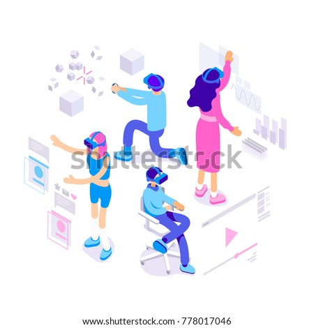 Virtual augmented reality glasses concept with people playing games, learning and entertaining. Vector isometric illustration.