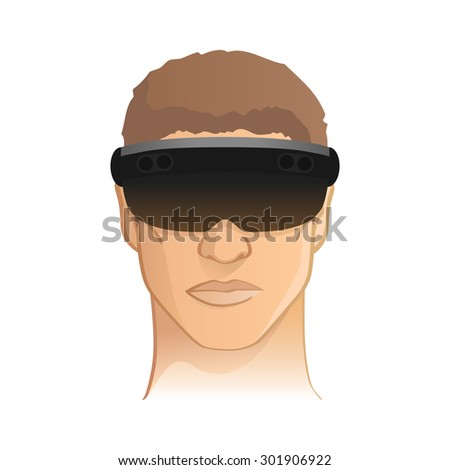 Virtual / augmented reality headset goggle vector illustration