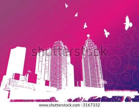 virtual city - stock vector