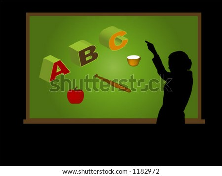 Virtual Classroom (1 of 3) - Teaching ABC; Separate Items, Vector - stock vector