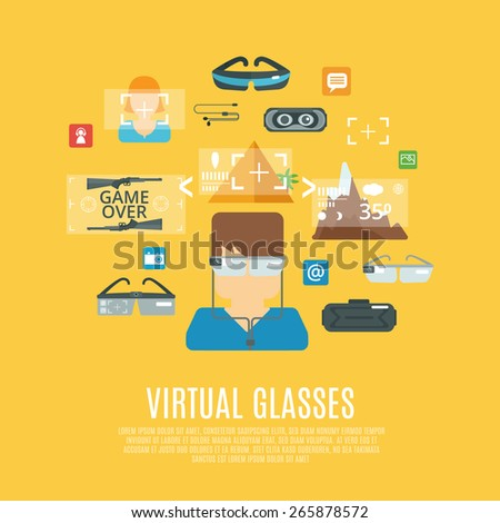 Virtual glasses concept with cyberspace electronic equipment flat icons set vector illustration - stock vector