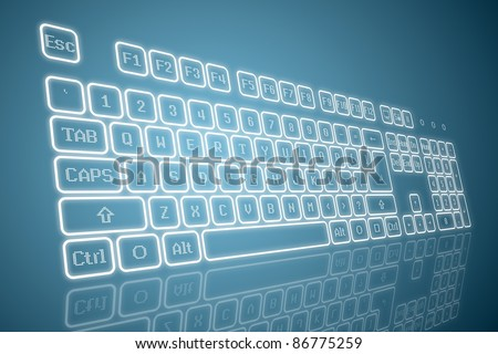 Virtual keyboard in perspective view, glowing keys and reflection on blue background - stock vector