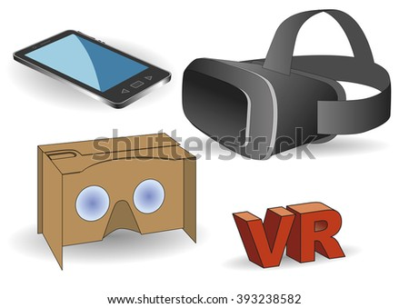 Virtual reality equipment. Virtual reality headset, vr cardboard and a mobile phone.  - stock vector