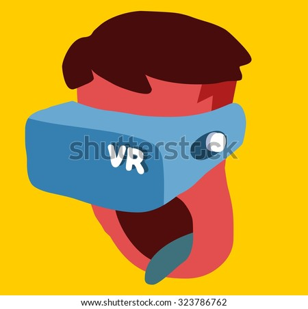 Virtual Reality Era. Vector illustration Flat - stock vector