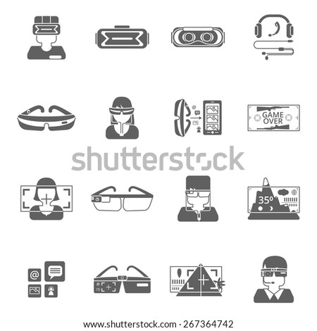 Virtual reality glasses technology black icon set isolated vector illustration - stock vector