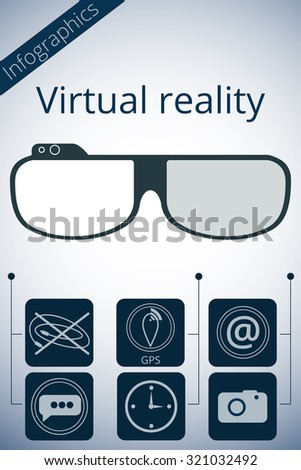 Virtual reality glasses. Vector promotion infographic.  - stock vector