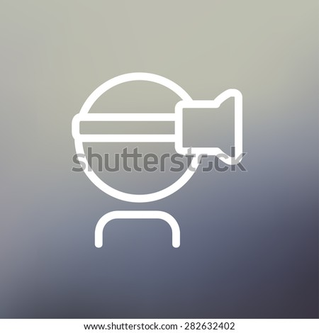 Virtual reality headset icon thin line for web and mobile, modern minimalistic flat design. Vector white icon on gradient mesh background. - stock vector