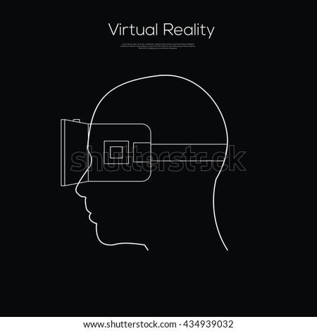 Virtual reality headset Line Art - stock vector