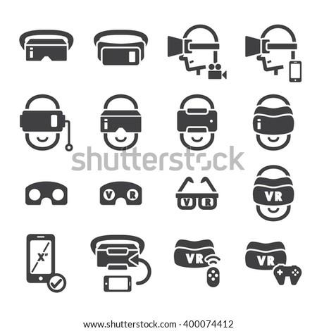 virtual reality icon - stock vector