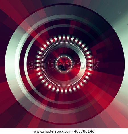 Virtual technology vector background.  Abstract red futuristic  tunnel  background. - stock vector